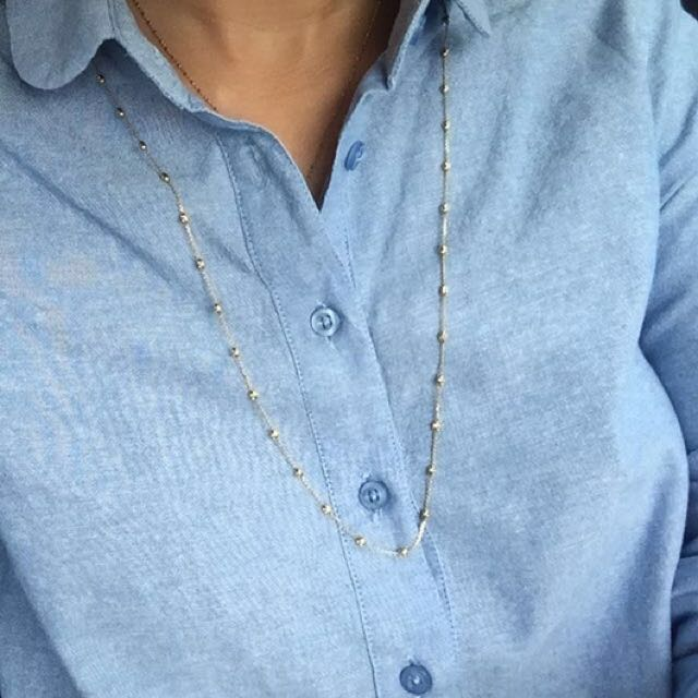 30 inches Italy Gold Beaded Necklace
