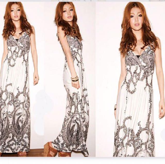變形蟲波西米亞度假長裙洋裝白色