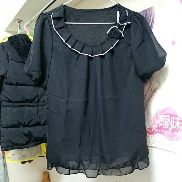 義賣#黑色雪紡上衣
