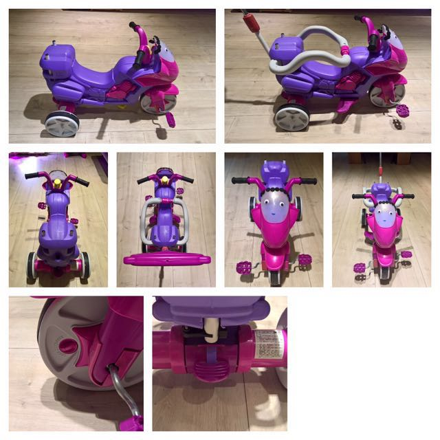 親親 重機造型三輪車(附拉桿+護欄)