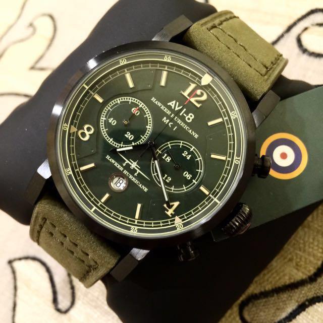 二手 飛機上買的限量手錶 配套禮盒組 軍綠 麂皮卡夾+麂皮手錶(高質感)