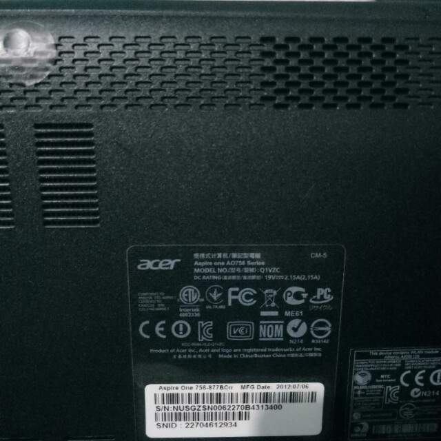 Acer Aspire One 756-877Bc