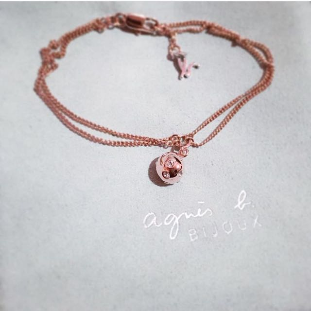 日本帶回專櫃正品agnesb logo小鑽扣環式手鍊