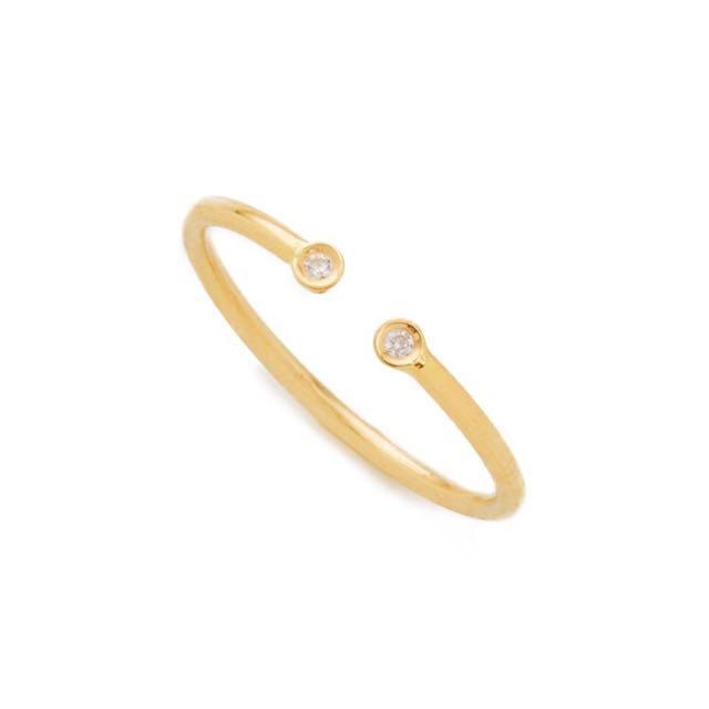 Ariel Gordon 14k Gold Dual Diamond Ring - Size 6