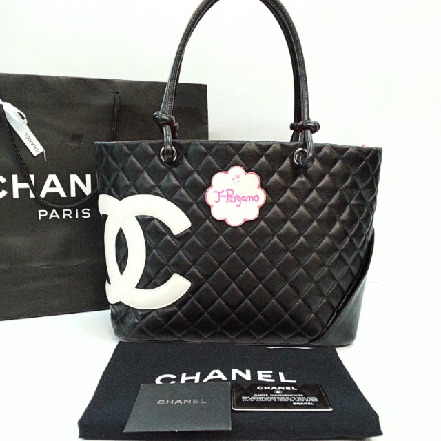 🎉Sold Under Instalment Plan🎉 Authentic Chanel Cambon Line Quilted  Lambskin Black With White CC Large Shopping Tote Bag    Only For Sale        No Trade ... d5c1789be1a8c