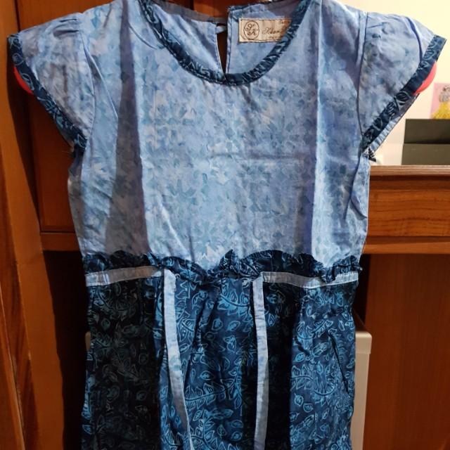 Baju batik anak blue