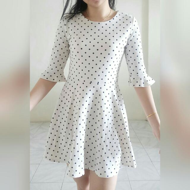 Baju White Stone Korean Polkadot Branded Dress