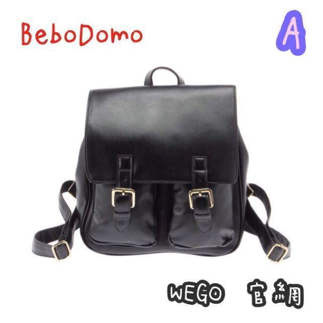 🎀《BeboDomo 》日本WEGO 正版 皮革雙口袋後背包