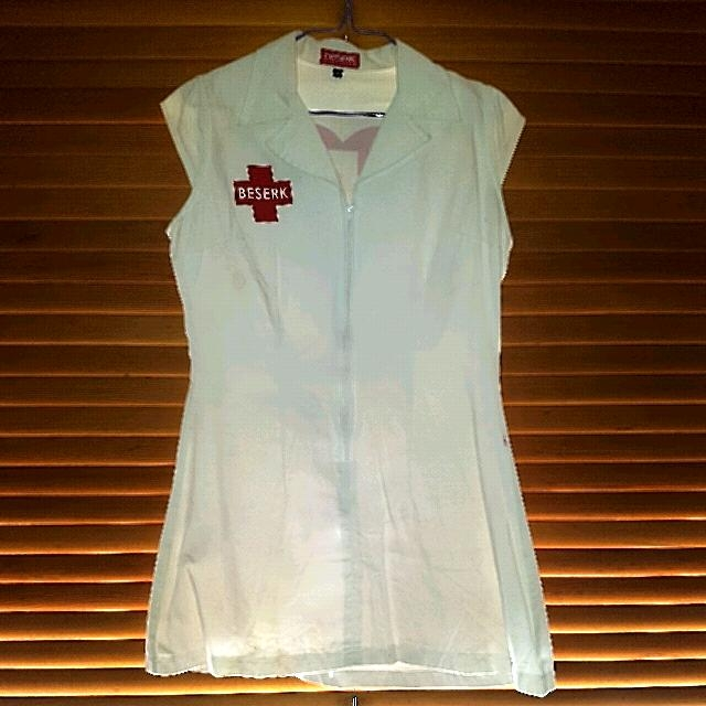 Beserk white cotton drill nurse dress with front zip and collar size 12