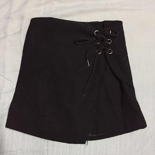 Black velvet skirt