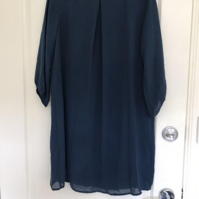 Blue chiffon tunic dress. Size 10. Worn a few times