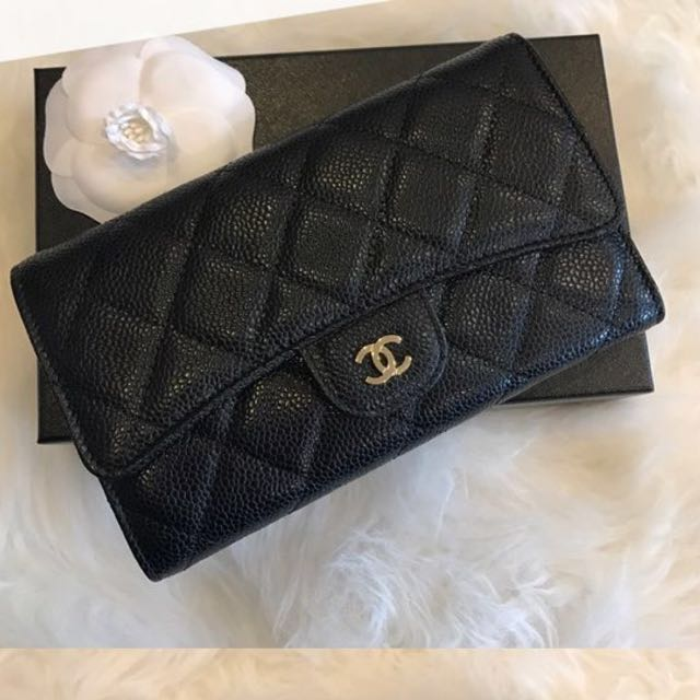 5be0215620f8 BNIB Authentic Chanel Classic Flap long wallet in Black Caviar Burgundy  interior, Luxury, Bags & Wallets on Carousell