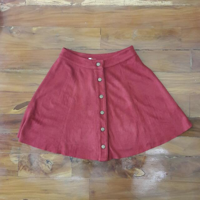 Button Down Circle Skirt (Faux Suede)