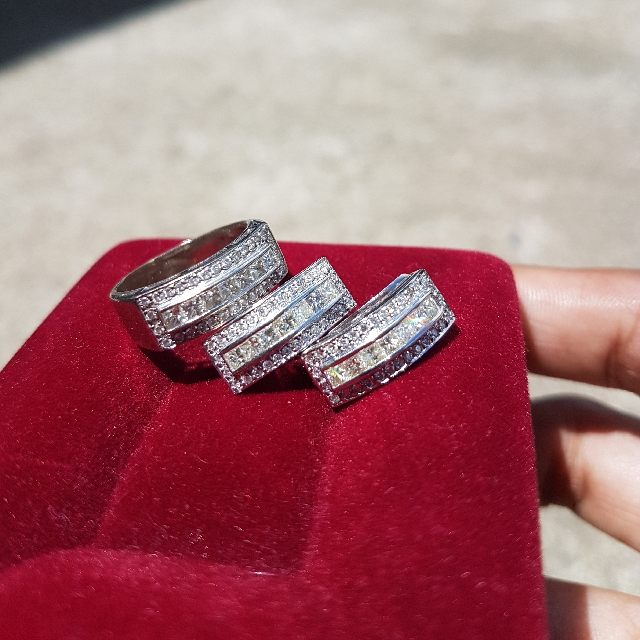 Diamond Ring And Earrings Set