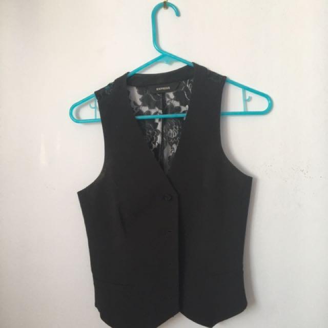 Express black lace vest