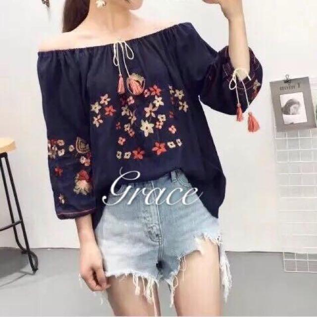 Grace embroidered off shoulder