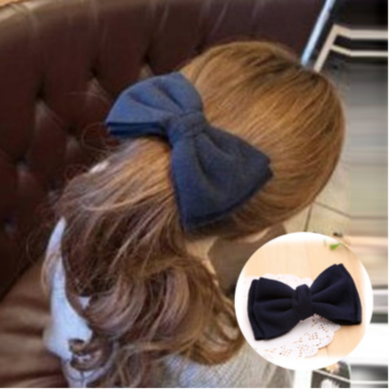 Hair Accessories - Large Navy Bowknot