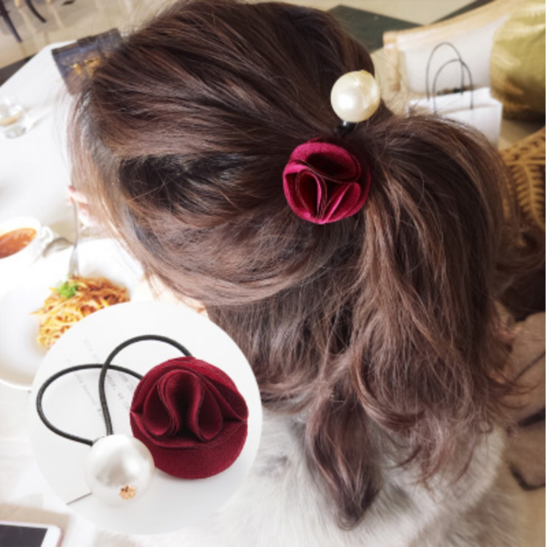 Hair Accessories - Red Rose & Pearl
