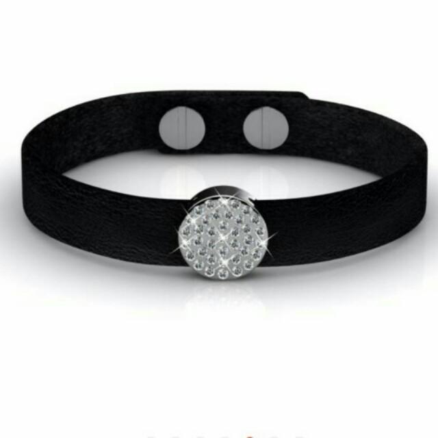 1c7bcd2433 Her Jewellery Round Leather Bracelet with Swarovski Crystals