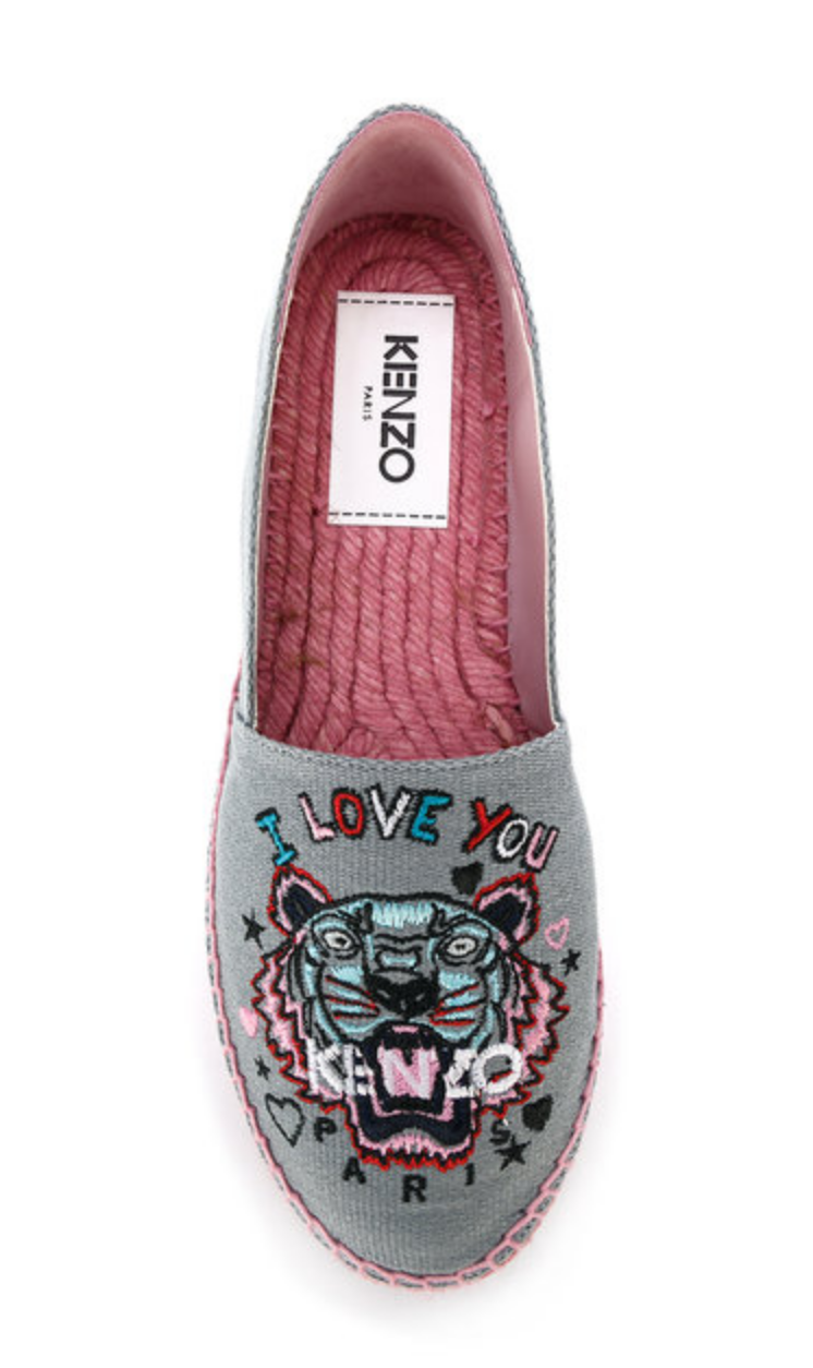 5633cb540ce Kenzo I Love You Tiger espadrilles grey pink shoes (LAST PRICE), Women's  Fashion, Shoes on Carousell