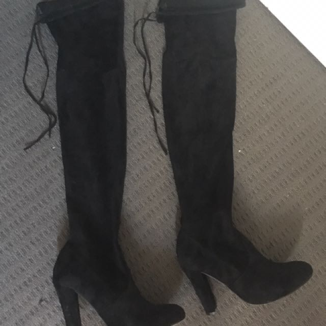 LIPSTICK thigh high/ over the knee black boots