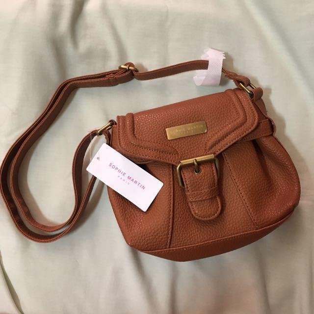 Long strap brown bag