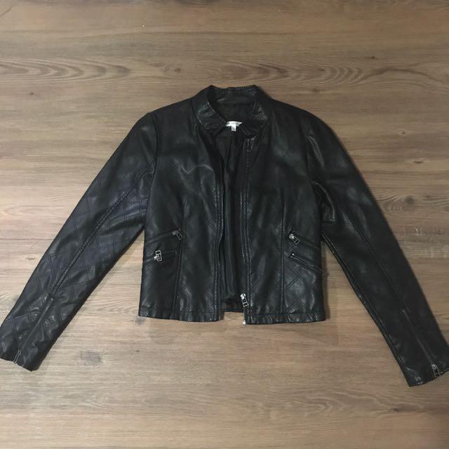 16d7c0b6e088 Mandarin Collar Leather Jacket, Women's Fashion, Clothes, Outerwear ...