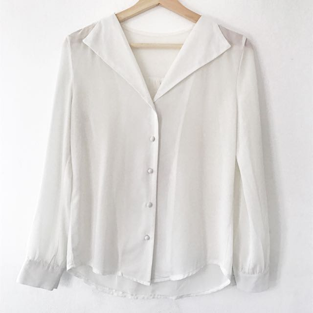 MDS Collection White Button-down Shirt
