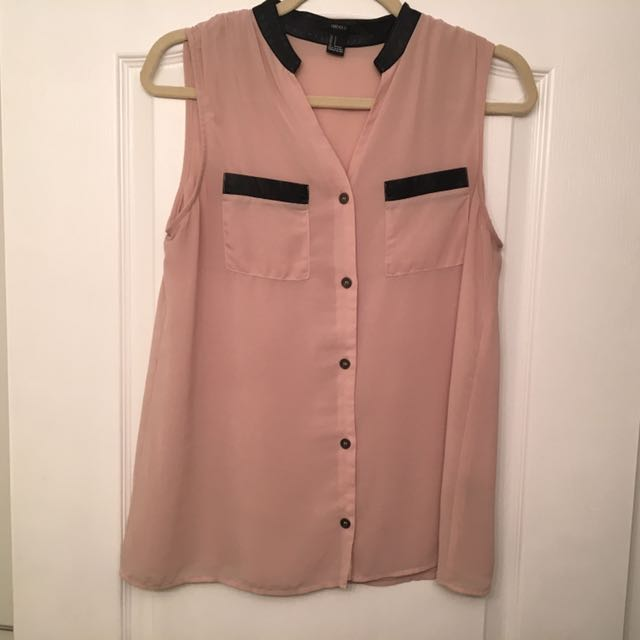 Neutral Top With Pleather Details