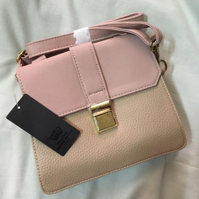 Pink/Cream Handbag with long strap