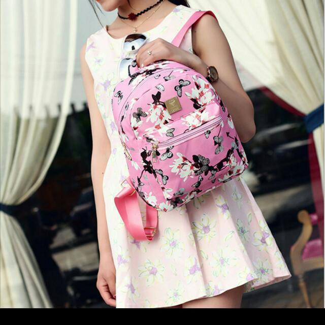 韓國女款pu皮革水仙花打印後背包