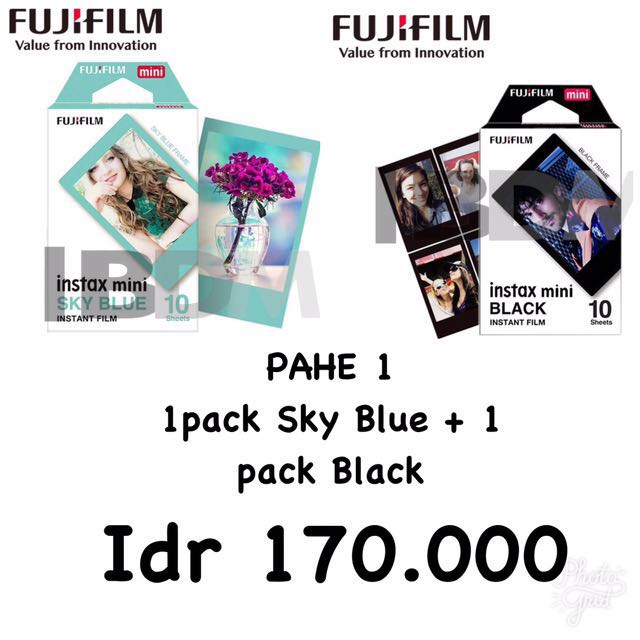 Refill Instax Twinpack SkyBlue + Black (20sheet)