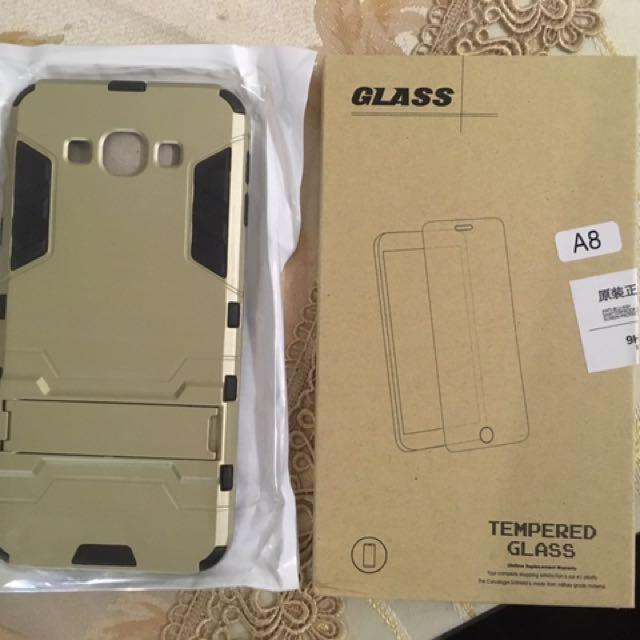 Samsung A8 手機殼 附玻璃膜