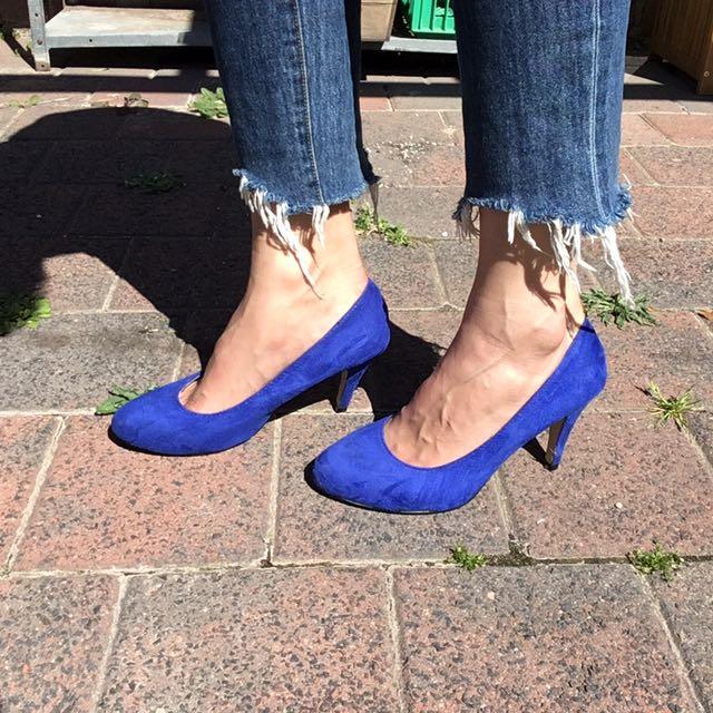 Suede like blue heel