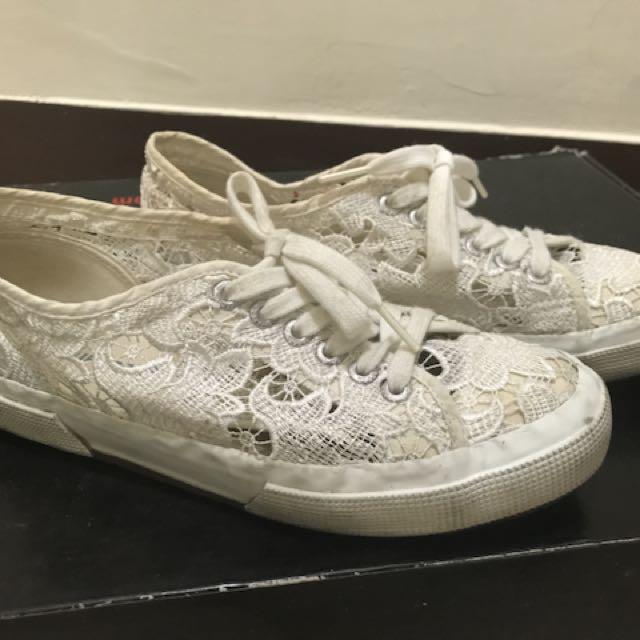 Superga 義大利 白色蕾絲休閒帆布鞋 二手 正品 限量us8