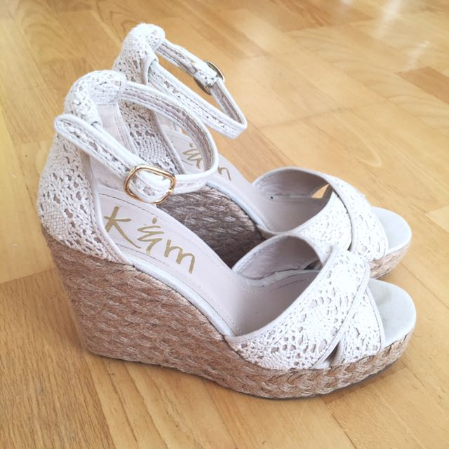 Sz 7.5 White Crochet Espadrilles Wedges