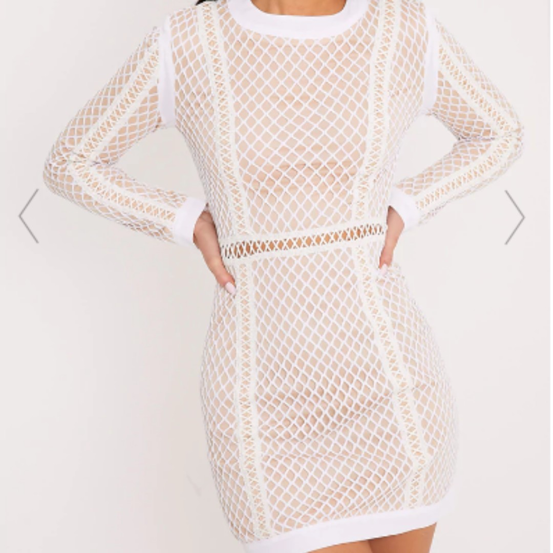 Thea White Fishnet Panel Bodycon Dress