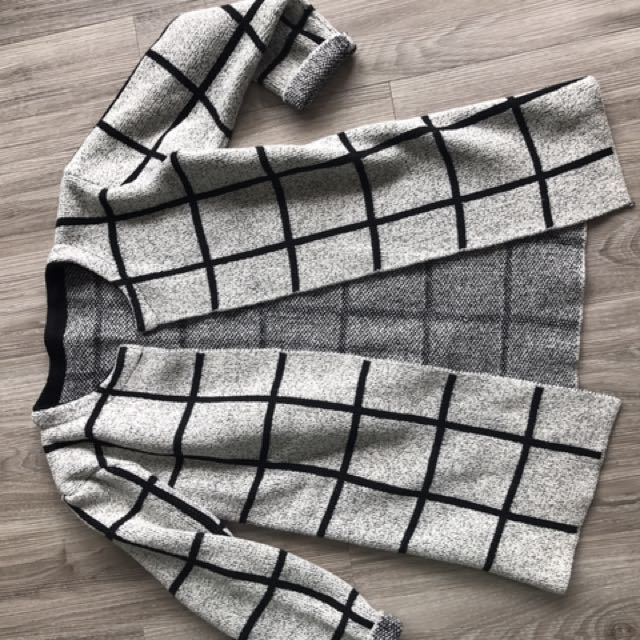 Thick winter knit coat