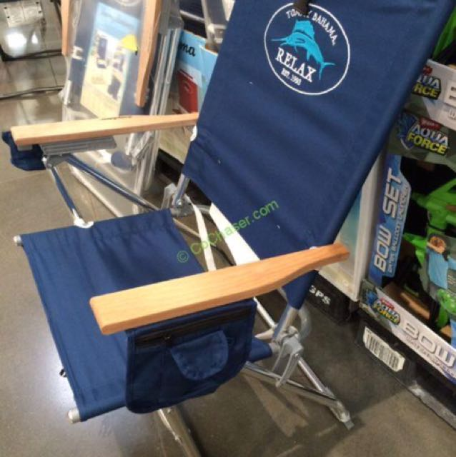 TOMMY BAHAMA Imported His and Hers Beach Chairs (Red and Navy Blue)