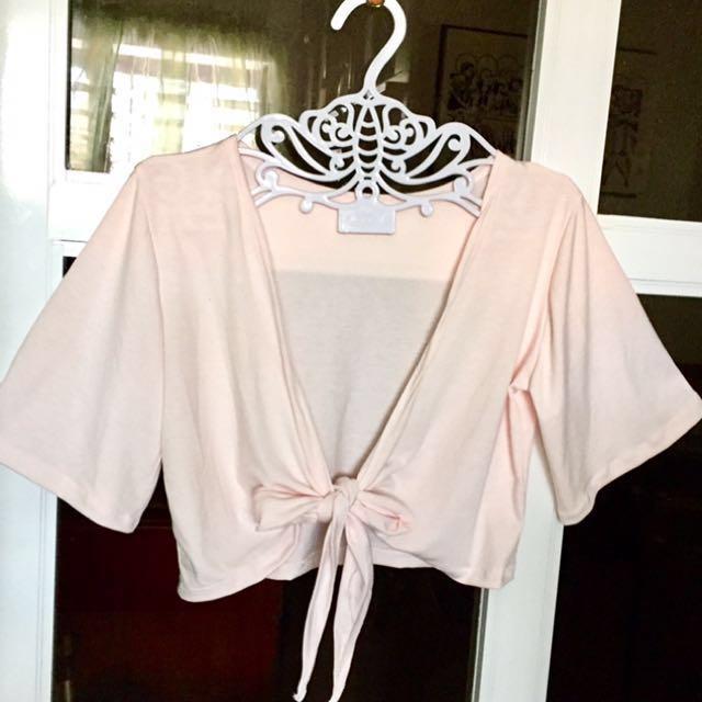 Two way Crop tie - Pale Pink