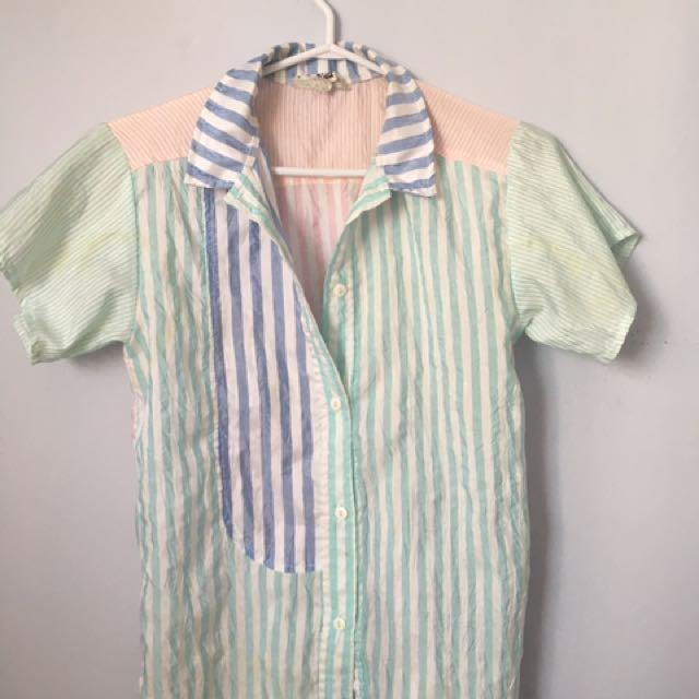 Vintage pastel print button up shirt