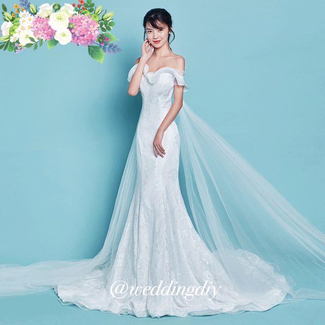 Wedding OffShoulder Mermaid Lotus Gown #budgetbride #budgetwedding ...