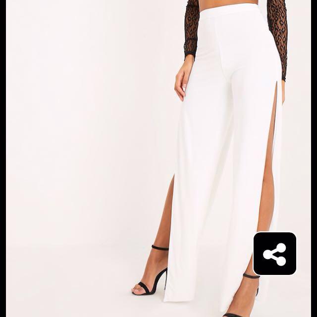 White High Waisted Side Slit Pants