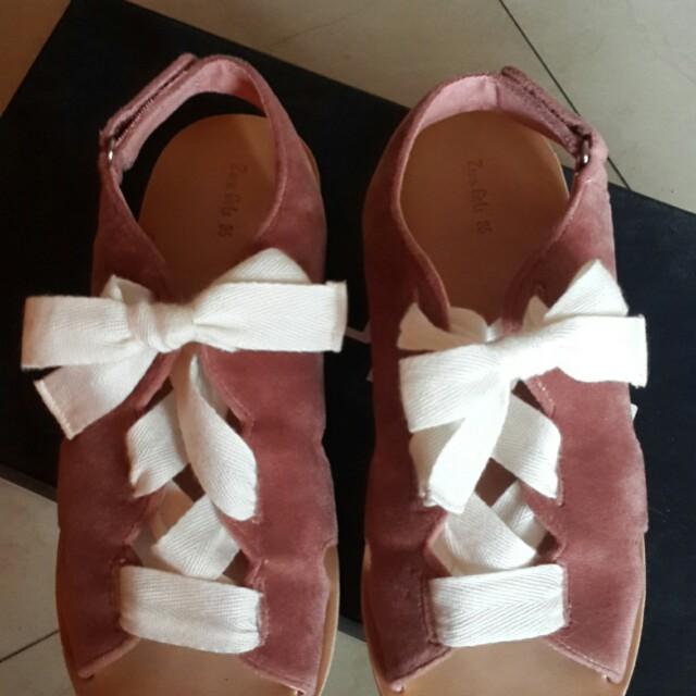 [Zara Girls] Sepatu Sandal Bahan Velvet