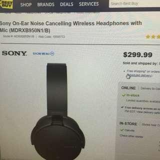Sony on-ear noise cancelling wireless headphones w/mic (MDRXB950N1/B)