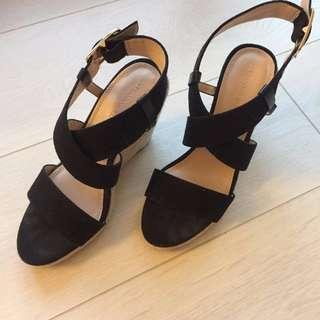 Banana Republic Black Wedge Heels Size 7 - New