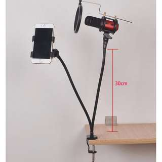 Universal Flexible Mic And Smartphone Holder - Black