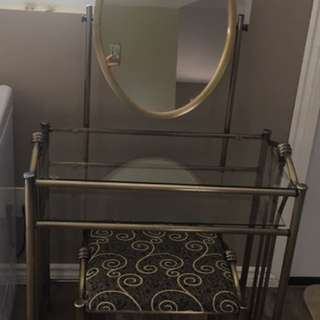 Vanity mirror with chair