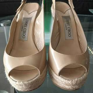 Jimmy Choo patent nude wedges size 35 5