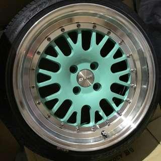 售4-100 16吋 DTM蒂芬妮輪圈(含胎)